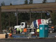 Construction continues at the Cowlitz Tribe's casino Jan. 22.