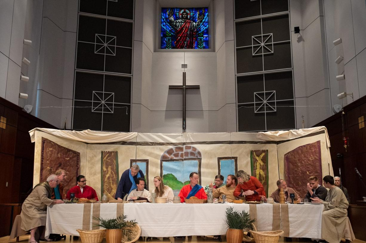 Members of the First United Methodist Church in Vancouver pose in the exact positions Wednesday as the figures in Leonardo da Vinci's The Last Supper painting during a dress rehearsal for Maundy Thursday.