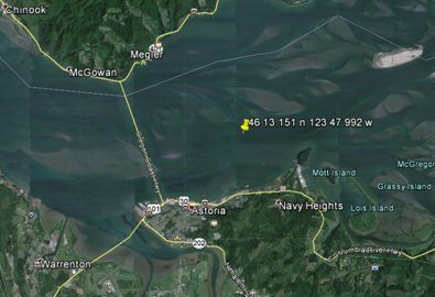 The yellow pin indicates where a plane was believed to have crashed into the Columbia River Wednesday afternoon. (U.S.