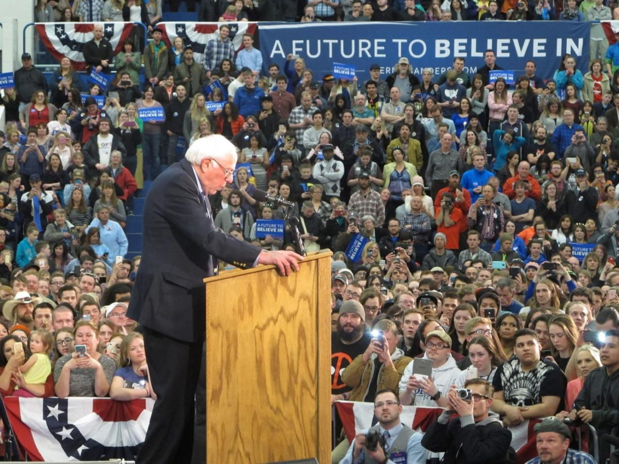 Democratic presidential candidate, Sen. Bernie Sanders, I-Vt., speaks at a campaign rally at Skyline High School in Idaho Falls, Idaho, Friday, March 18, 2016. (AP Photo/Kimberlee Kruesi) (john locher/Associated Press)