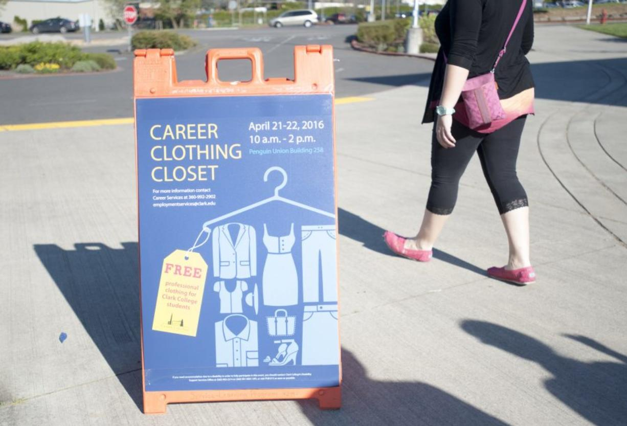 A sandwich board at Clark College announces the Career Clothing Closet, which provides students with professional clothing for job interviews and their careers. (Natalie Behring/The Columbian)
