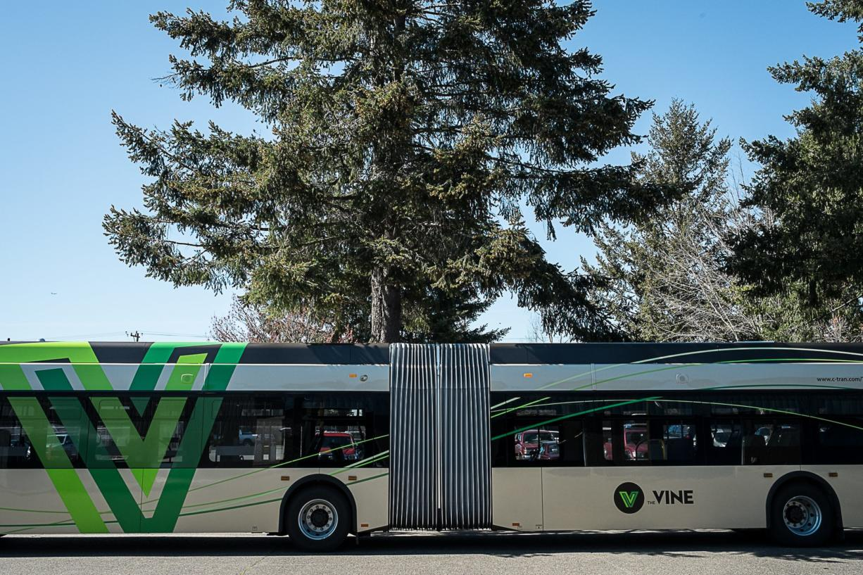 View of the midsection of C-Tran's new bus, the New Flyer Xcelsior, designed for The Vine. The extra-long buses are articulated, or hinged, so they can round standard corners. (Photos by Joseph Glode for The Columbian)