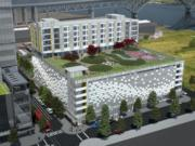 Rendering of guesthouse for Oregon Health & Science University patients and family members.