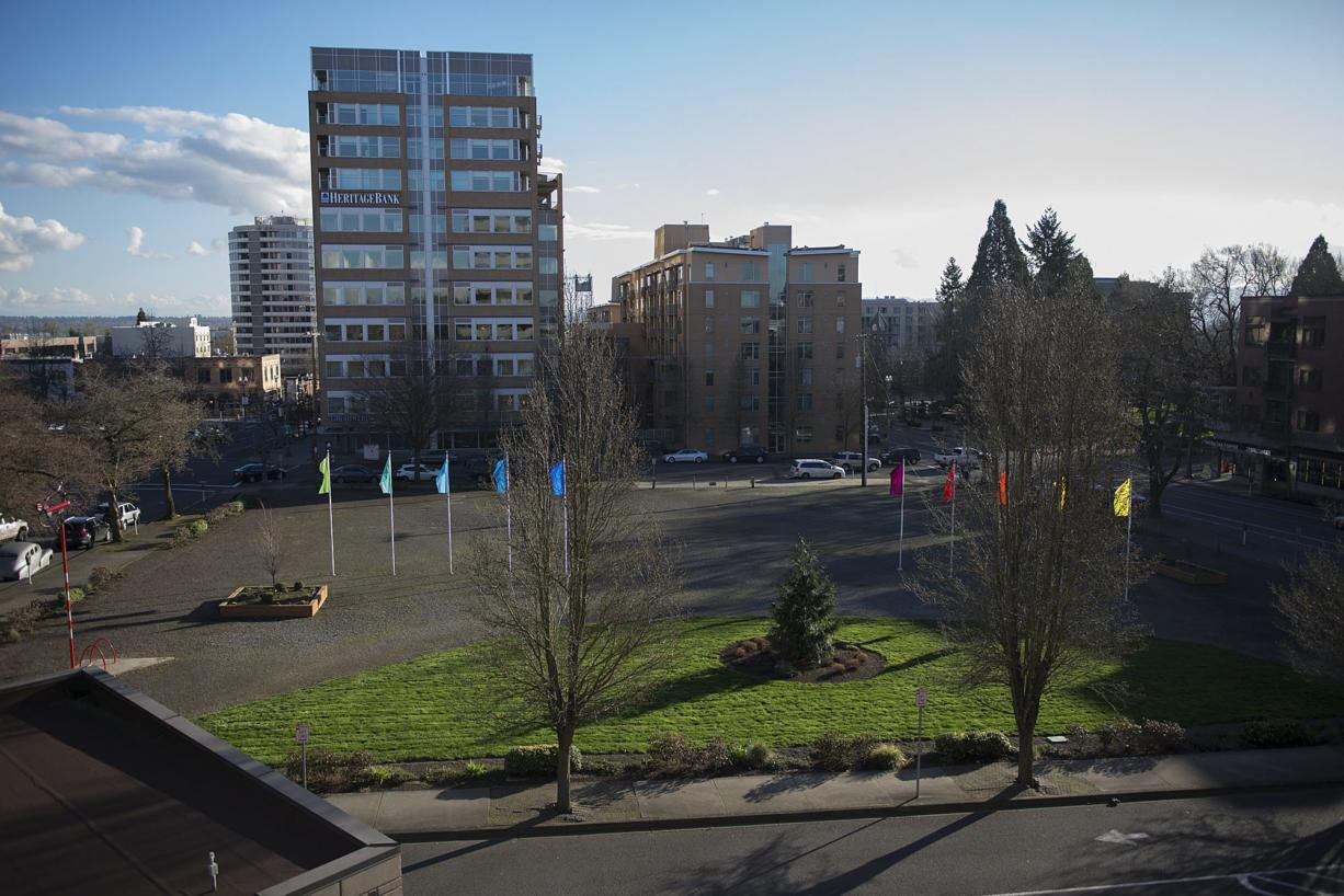 Seen facing south, Block 10 is the last remaining vacant full city block at the heart of downtown Vancouver. It's bordered by Columbia, Washington, Eighth and Ninth streets. (Amanda Cowan/The Columbian)