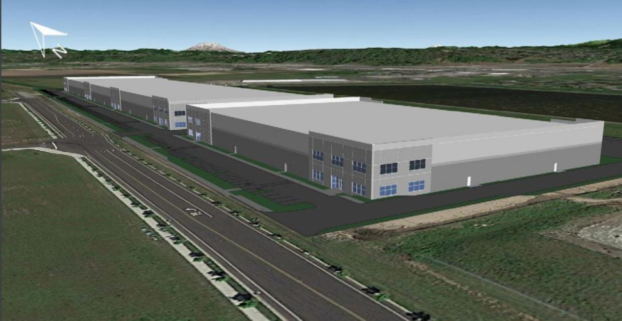 Artist's rendering of the industrial park complex under construction on Northwest 23rd Avenue near Lower River Road.