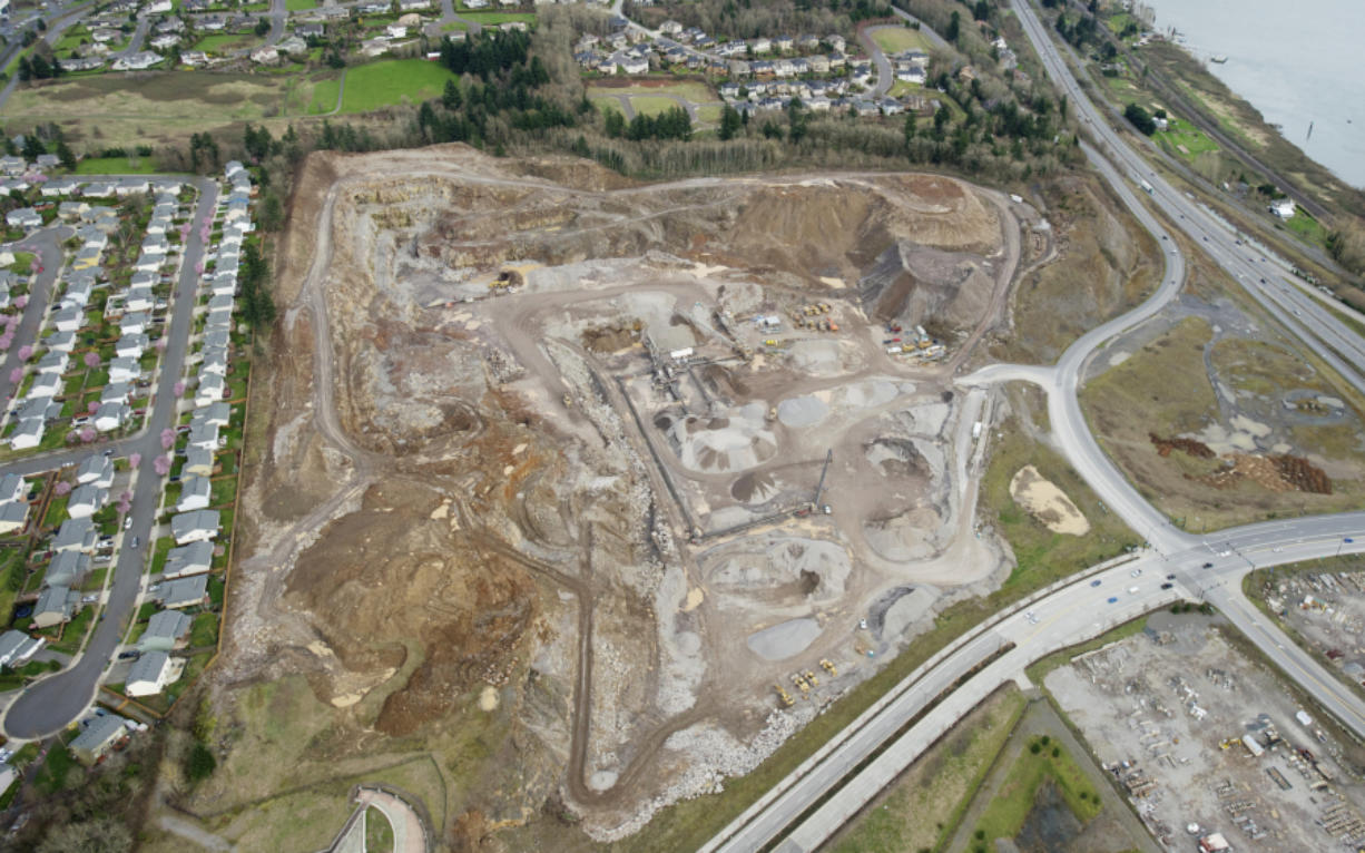 The Columbia Palisades development would turn this rock quarry along 192nd Avenue and Brady Road into a mix of houses, apartments, offices and retail. Plans for the development were submitted to the city on Thursday, and construction could begin next spring if the project is approved.