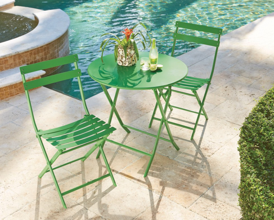 The Follie Green Outdoor 3 Piece Patio Bistro Set Has Steel Chairs And A  Folding