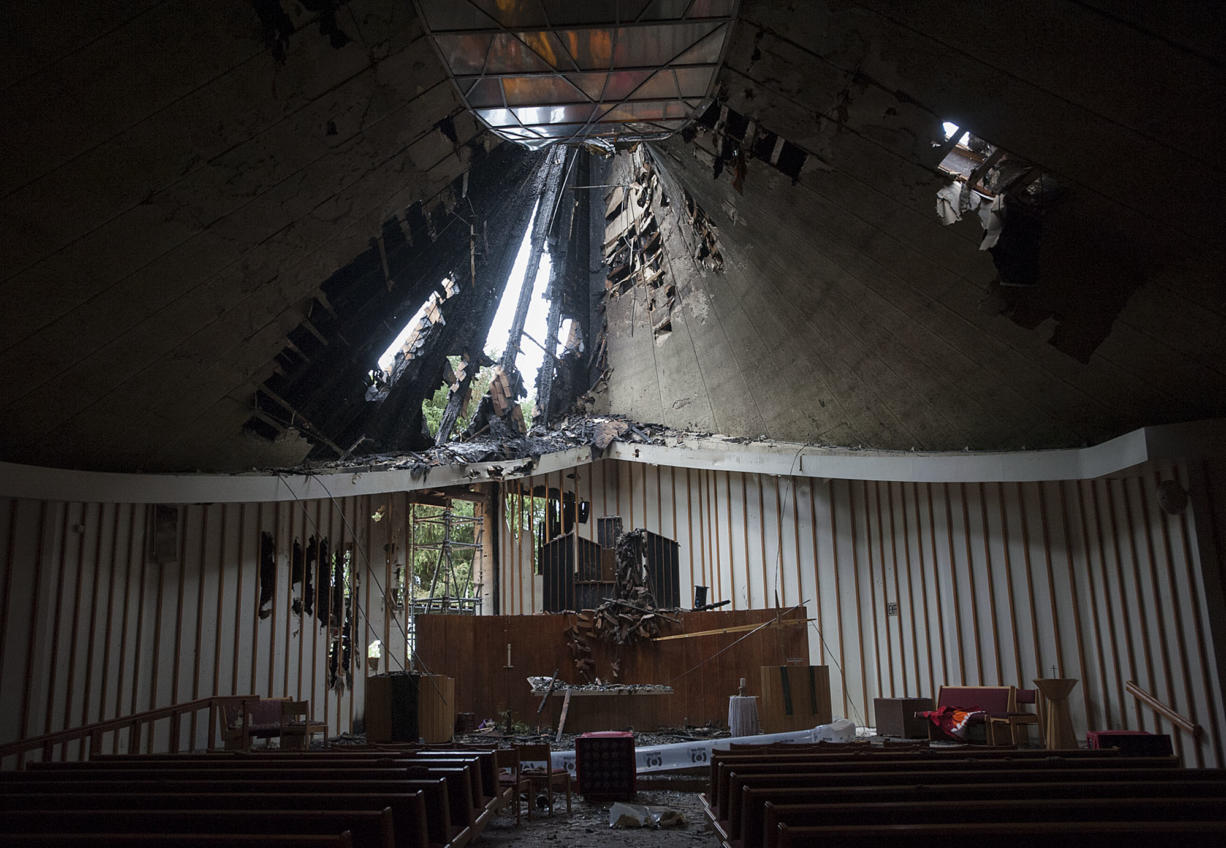 Fire damage to the First Congregational United Church of Christ is seen  May 26. (Amanda Cowan/The Columbian)