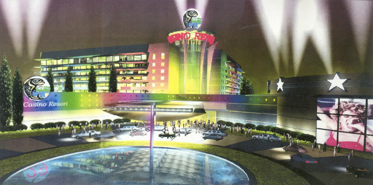 A 2000 rendering shows what a proposed Cowlitz Tribe/Trump casino might have looked like.