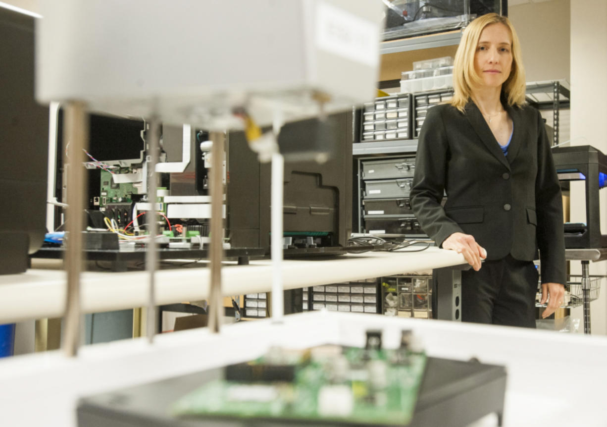 Simplexity CEO Dorota Shortell leads a company that specializes in mechatronics -- the art of combining the skills of all engineering disciplines in product development. About half of the company's 60 employees work in its Vancouver office. (Natalie Behring/The Columbian)