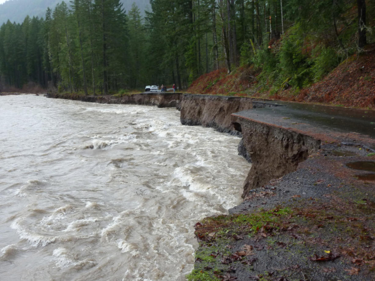 Gifford Pinchot National Forest Road No. 23 will be closed in 2016 due to washouts, like this one near Milepost 12. (U.S.