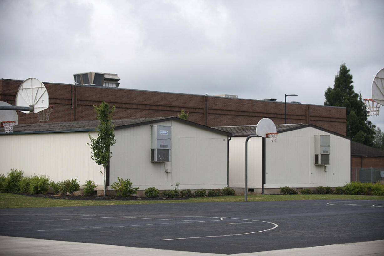 Two portable buildings hold four classrooms to help View Ridge Middle School deal with overcrowding. All schools in the Ridgefield School District are over capacity, and the district is searching for solutions to the city's rapid growth.
