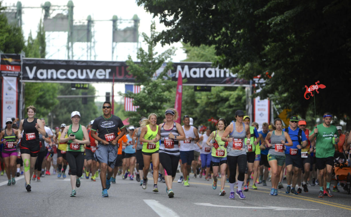 Runners start the Vancouver USA Marathon in 2015.