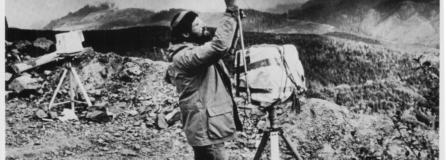 Columbian photographer Reid Blackburn adjusts one of two remote-controlled cameras on Mount St. Helens in 1980.