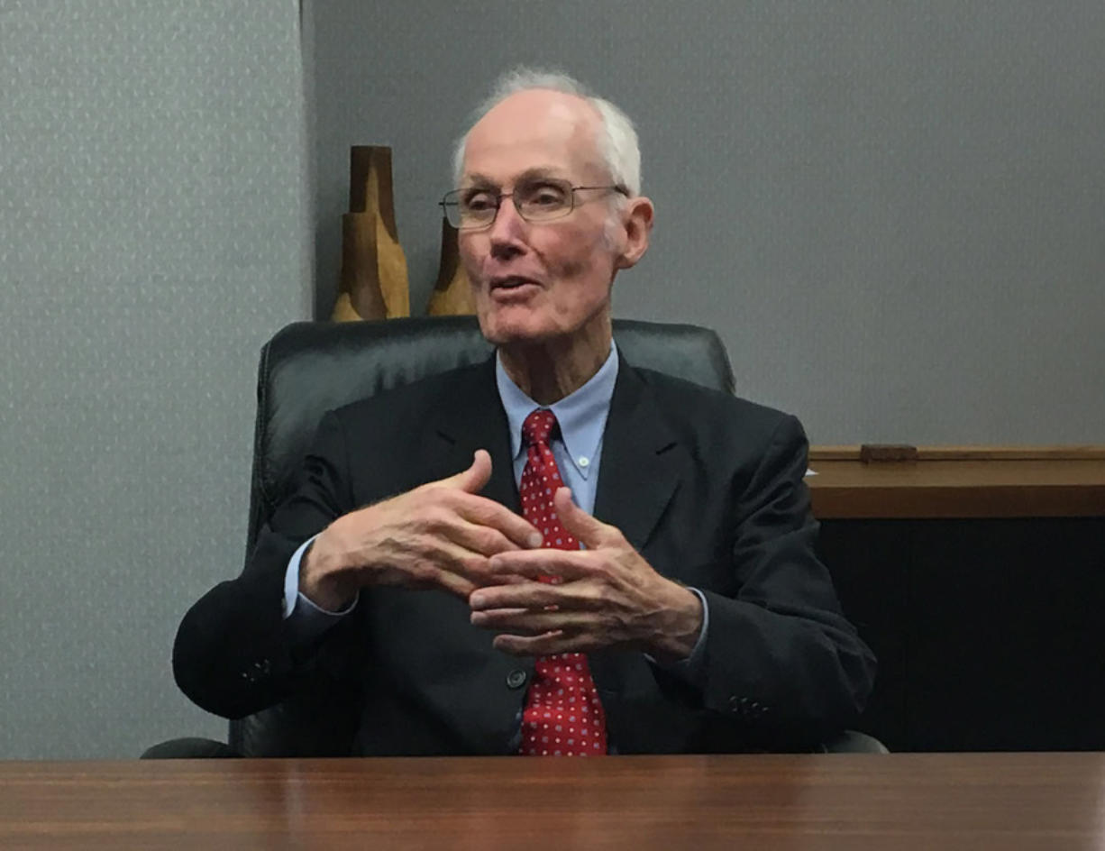 Former U.S. Sen. Slade Gorton, R-Wash., talks with The Columbian's editorial board on Tuesday.