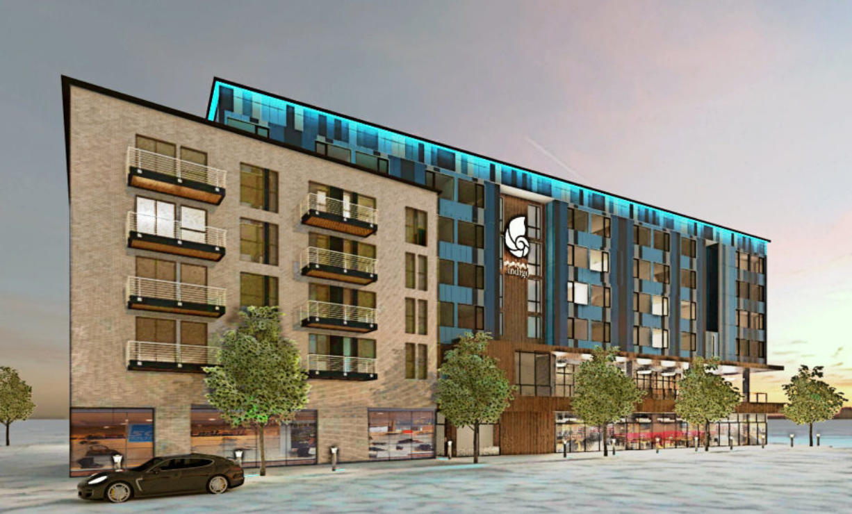 A rendering of the Indigo Hotel project slated for the Vancouver Waterfront.