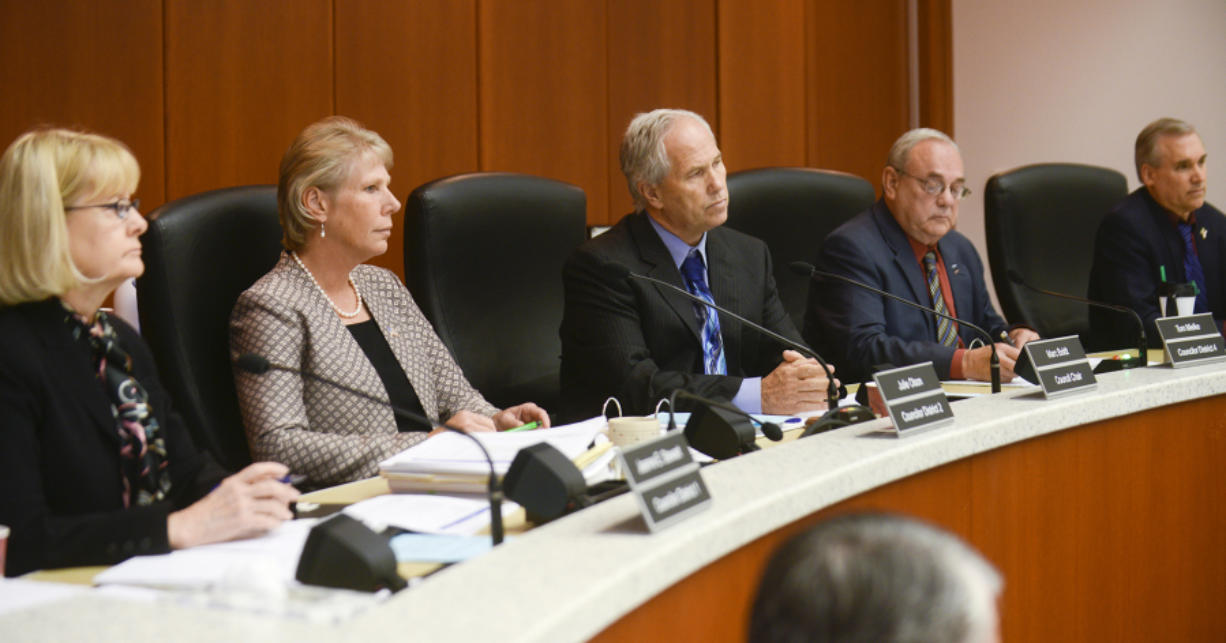 The Clark County council deliberates in June at the Public Service Center in Vancouver during its final hearing on a Comprehensive Growth Management Plan update.