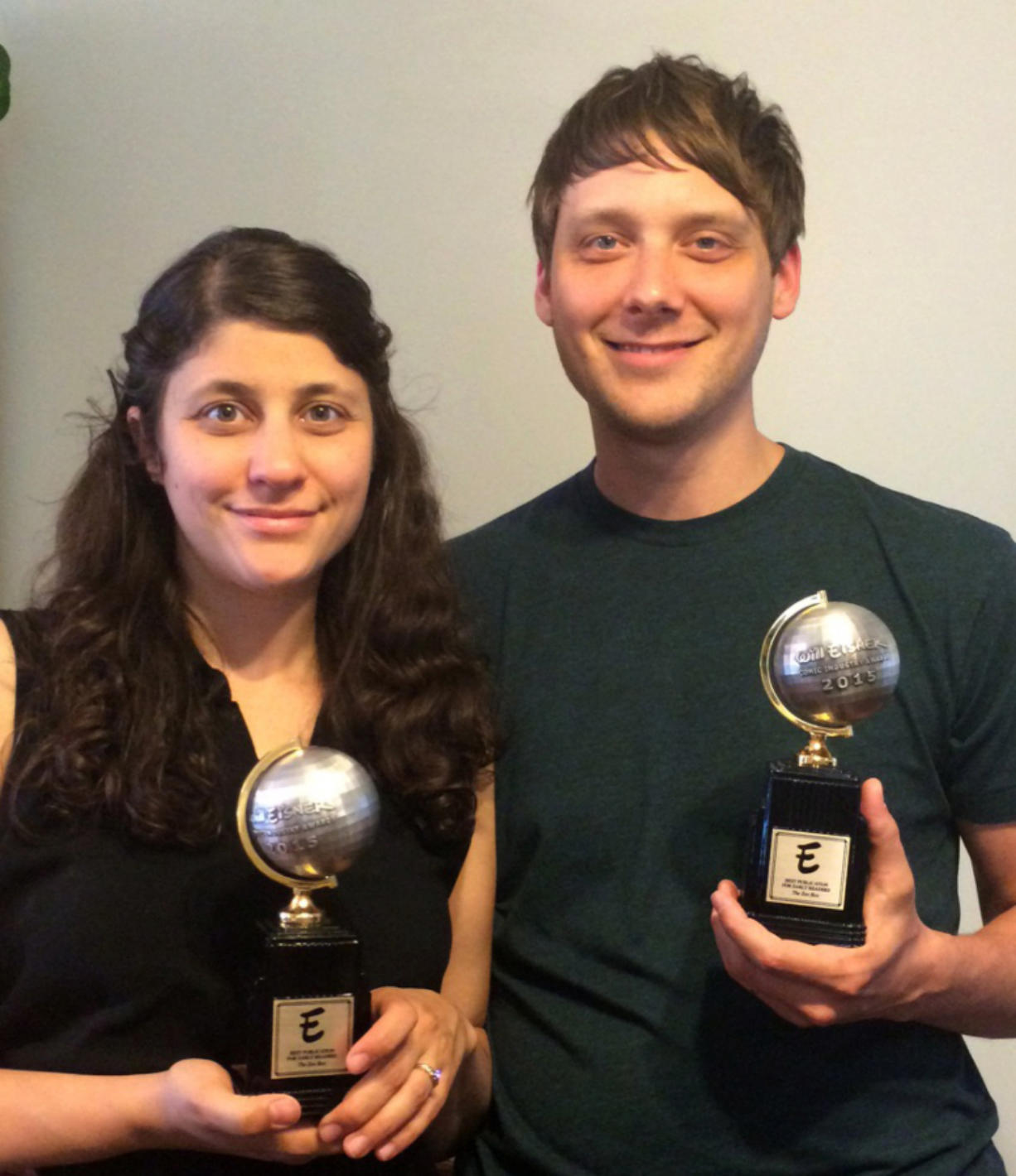"Ariel Cohn and Aron Steinke with their Will Eisner Comic Industry Awards, which they won for their book ""The Zoo Box."""