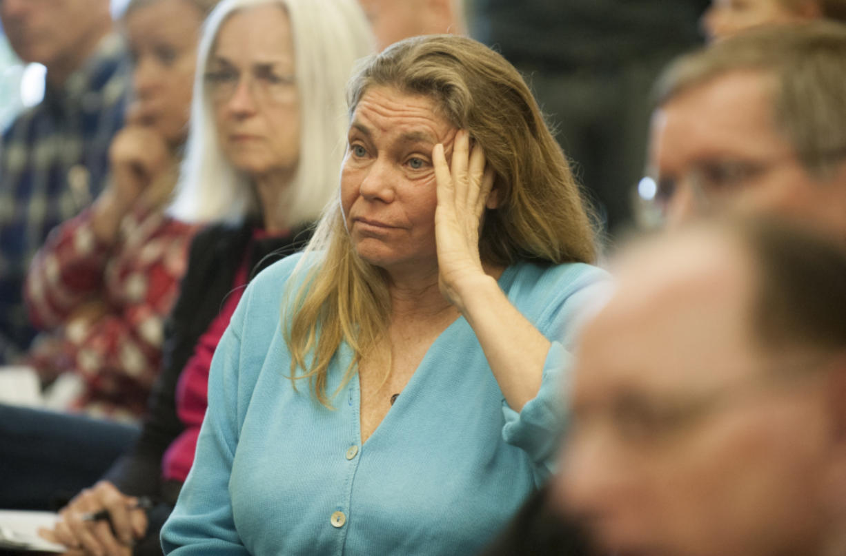 """Arlene Burns, mayor of Mosier, Ore., attends the Port of Vancouver Board of Commissioners meeting. Burns said Mosier and the Columbia River """"dodged a bullet"""" when an oil train derailment and fire evacuated the small town. (Photos by Natalie Behring/The Columbian)"""