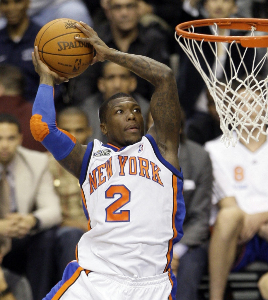New York Knicks  Nate Robinson leaps during the slam dunk contest at the NBA  All f8c33fb55