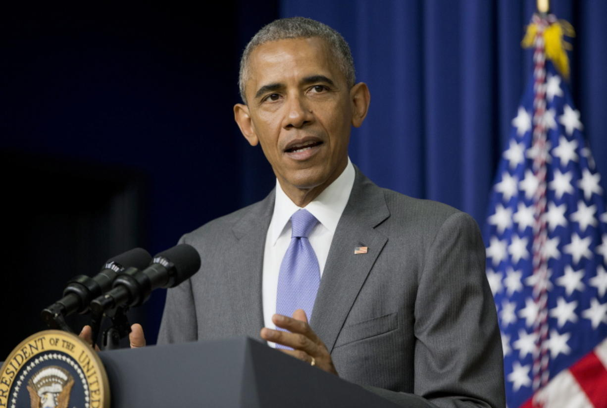 President Barack Obama speaks in the Eisenhower Executive Office Building on the White House complex in Washington on Wednesday before signing bill H.R. 2576, the Frank R. Lautenberg Chemical Safety for the 21st Century Act.