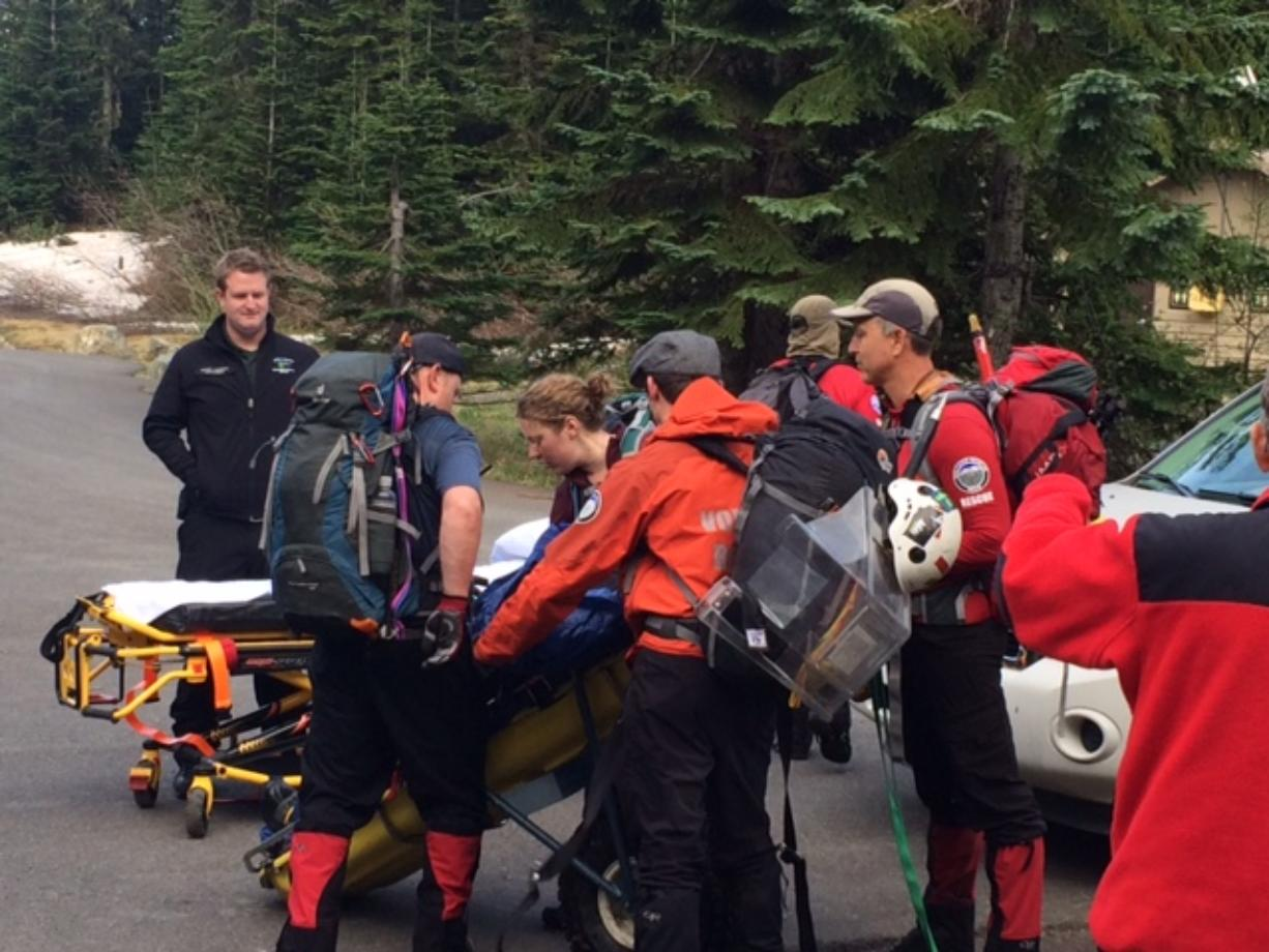 Volcano Rescue Team out of Yacolt helped bring an injured hiker down from Mount St. Helens Thursday. (Skamania County Sheriff's Office)