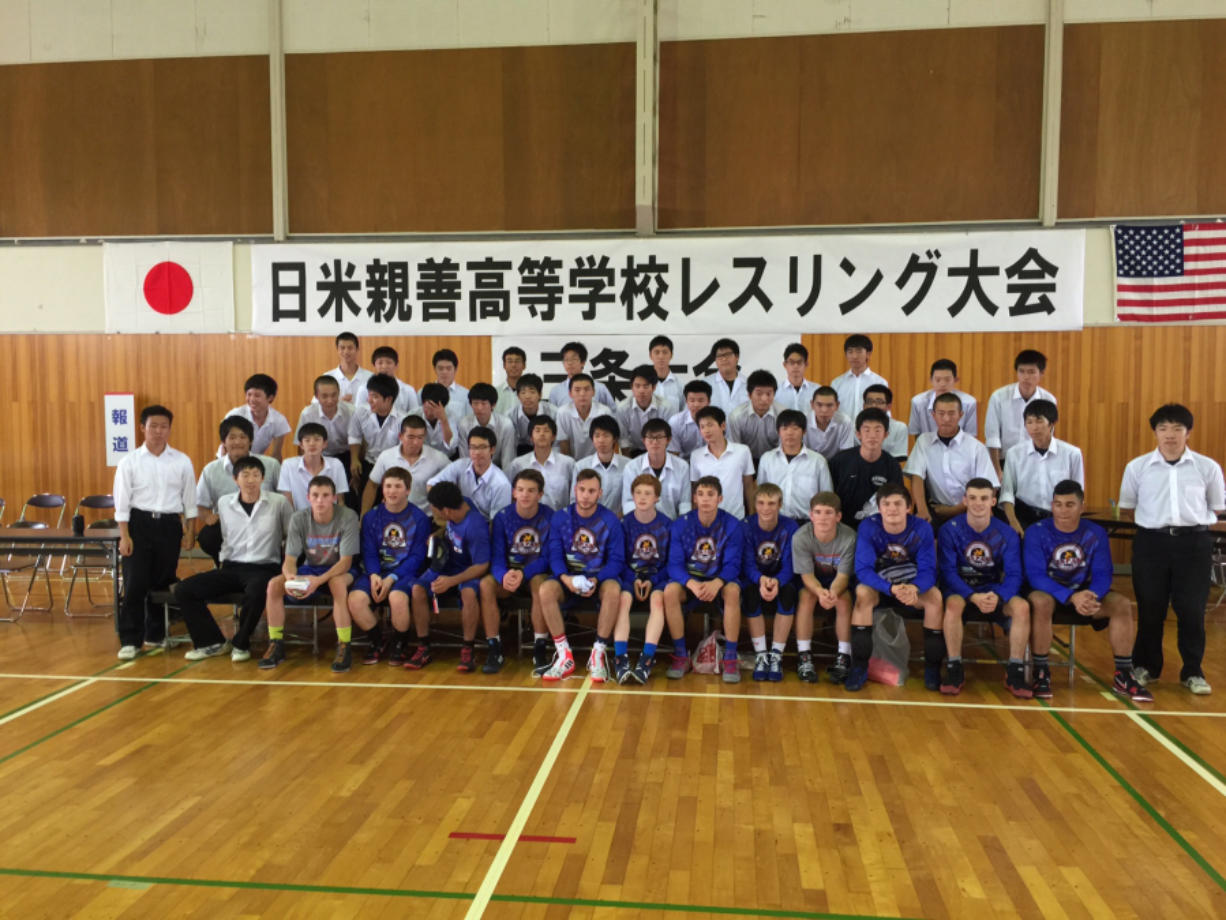 The Washington Wrestling Association Cultural Exchange Team to Japan poses with their Japanese counterparts.