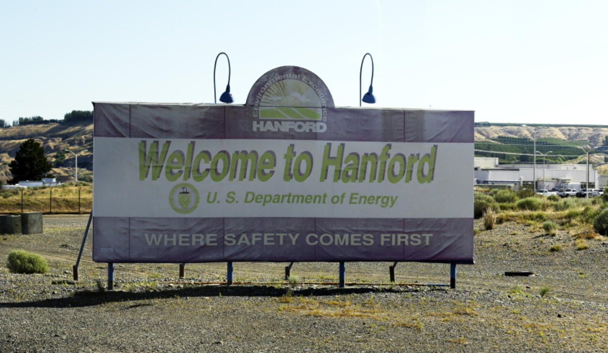 "A sign near the entrance to the Hanford Nuclear Reservation near Richland reads ""Where Safety Comes First,"". (AP Photo/Ted S."