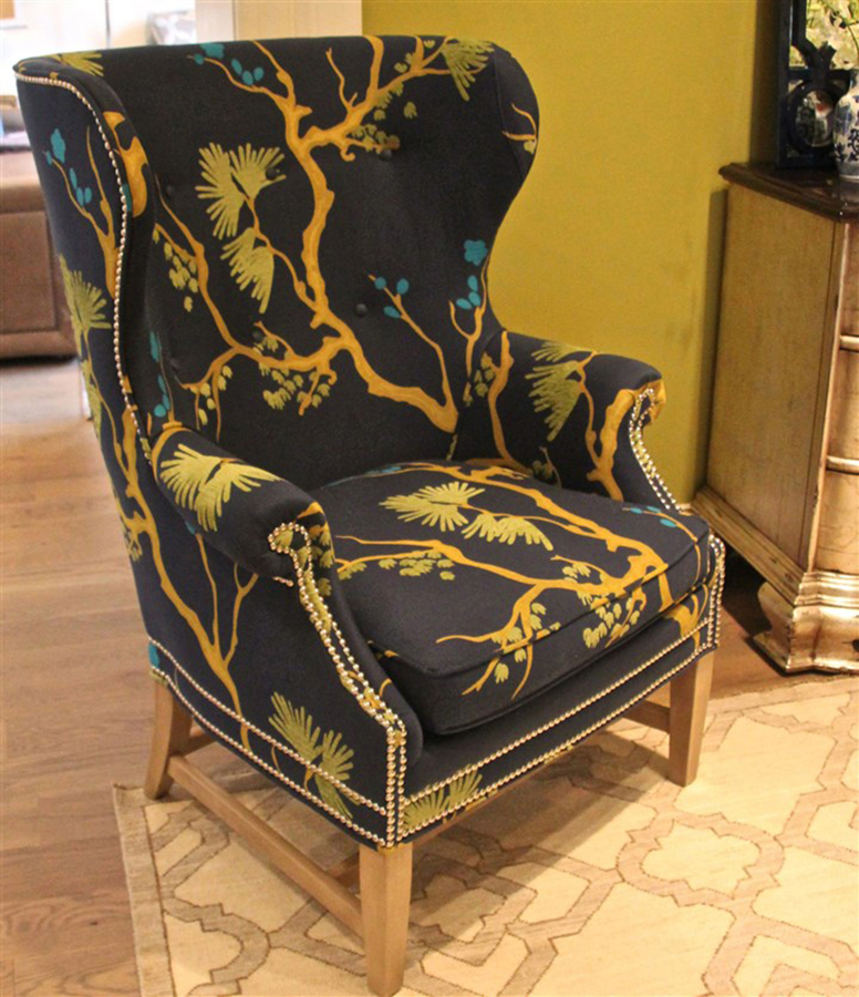 The Heathcliff Wing Chair By Wesley Hall In Bonsai Indigo/Westbury Night  Fabric With Nailhead