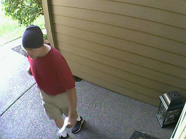 The Clark County Sheriff's Office is looking for a man who threw apples on the roof of a Hazel Dell resident's home, and left a bizarre note on his door.