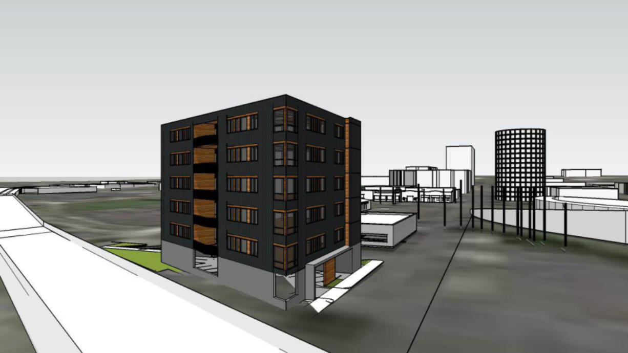 An artist's rendering of how the triangular building south of West Third Street on Washington Streets could look, viewed from the southeast corner. The Smith Tower is visible on the right side of the image. (Courtesy of Hurley Development)