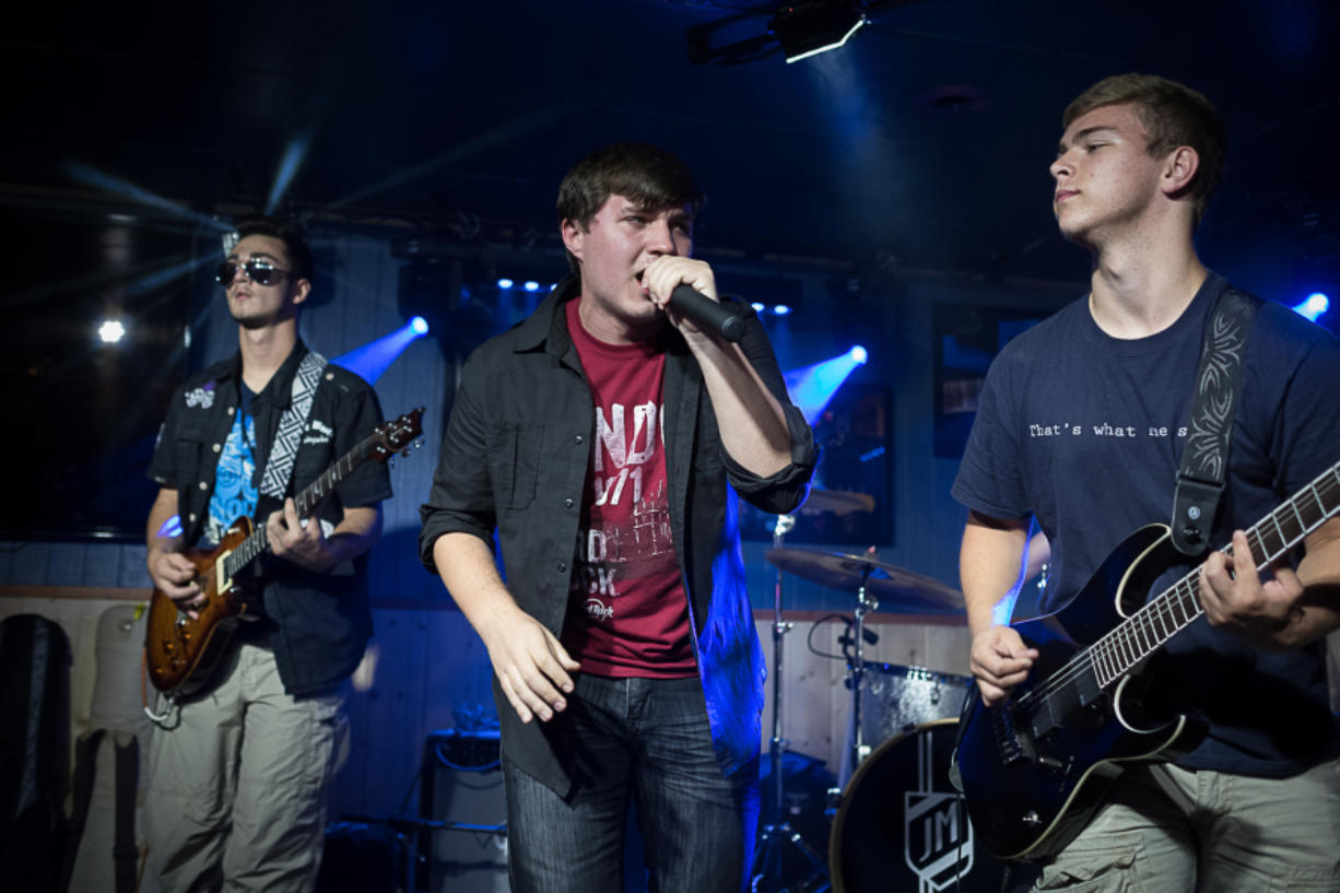 DnD7 performs during the Sunday Youth Jam at Billy Blues Bar & Grill in Hazel Dell. Left to right are Jonny Wilson, Chance Duitman and Trevor Short.