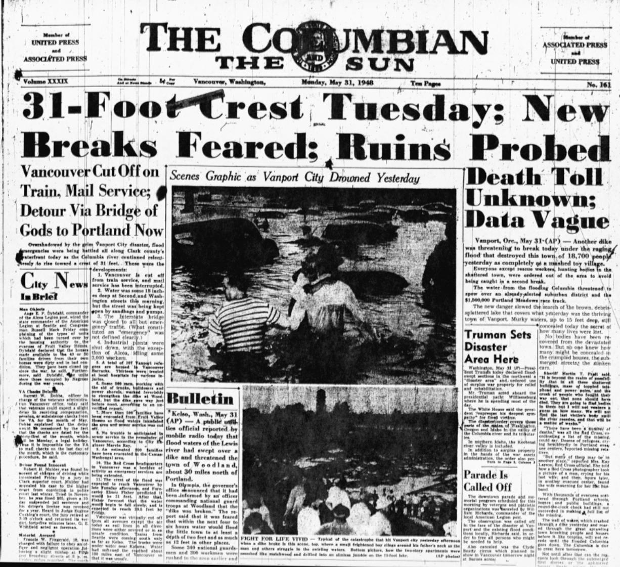 The front page of The Columbian on May 31, 1948.