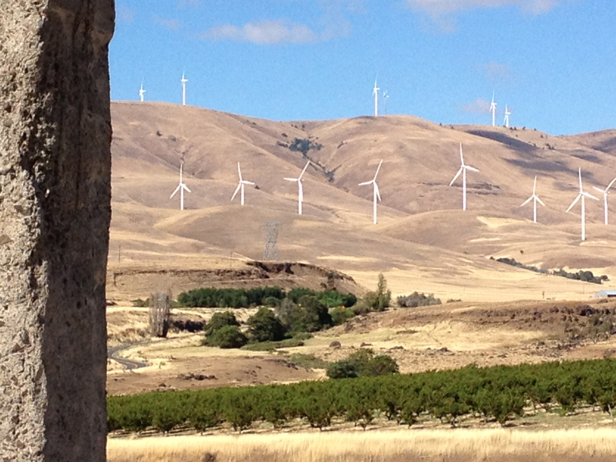Visitors to the Stonehenge Memorial along Highway 14 have sweeping views of the Columbia River, the Gorge and the hills dotted with vineyards and wind turbines.