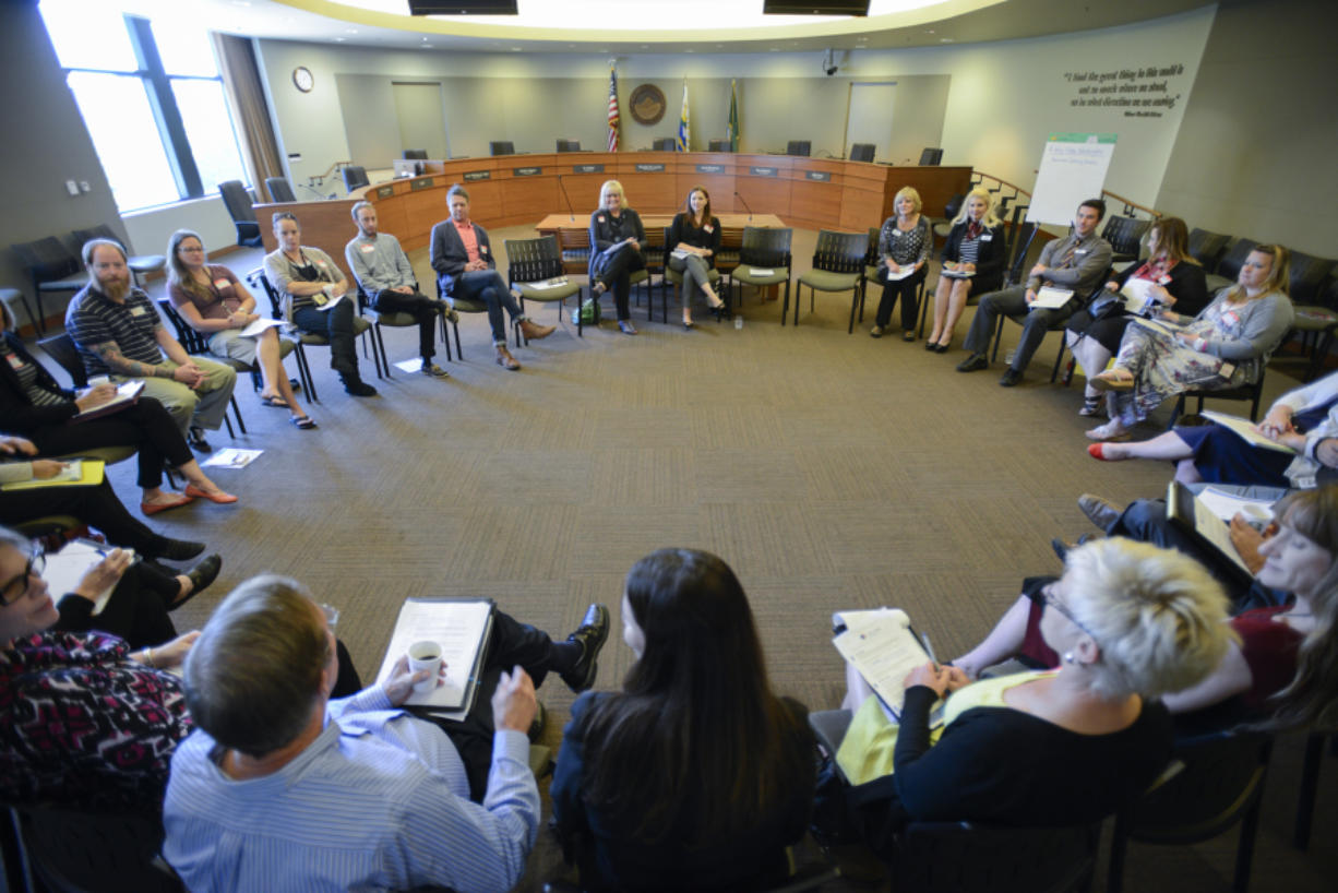 Washington's first lady Trudi Inslee, a co-chair of A Way Home Washington, speaks with Clark County community leaders Wednesday to discuss youth homelessness at City Hall in Vancouver.