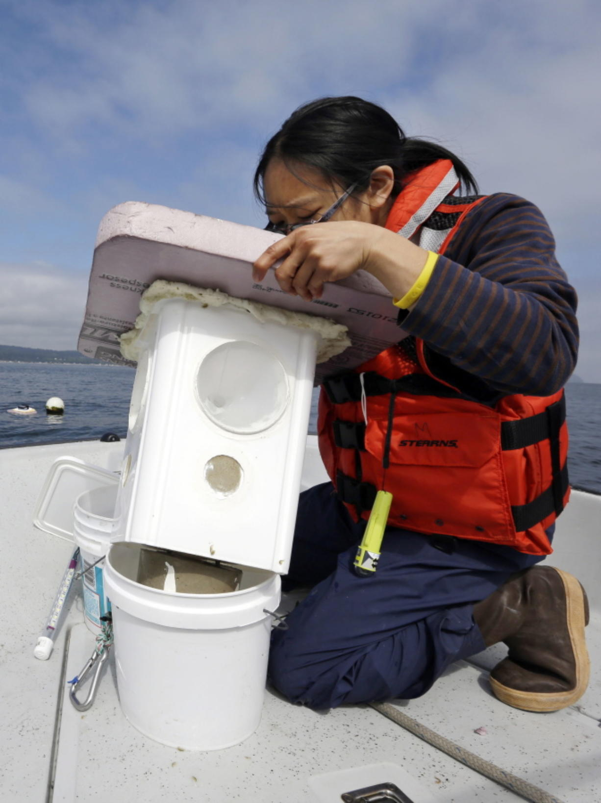 Audrey Djunaedi, a lab technician with NOAA's Northwest Fisheries Science Center, looks into a light-catching trap set out the day before to collect Dungeness crab larvae in the marine waters outside of the center's station in Mukilteo, Wash., on July 26, 2016. As marine waters continue to absorb more atmospheric carbon dioxide, federal scientists are worried that the changing ocean chemistry may put Northwest Dungeness crabs at risk.