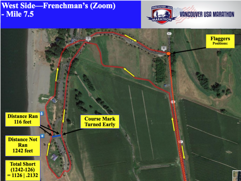 A map showing where the Vancouver USA Marathon course error occurred that resulted in the race being 1,126 feet short.