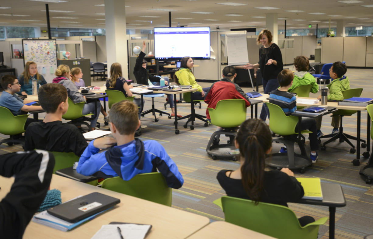 Tiffany Morrisey leads her seventh-grade class in a lesson at the Camas Project-Based Learning Middle School.