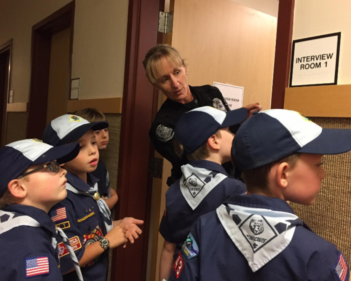 Battle Ground: Battle Ground Police Department Sgt. Kim Armstrong took the members of Cub Scouts of Den 1, Pack 443 on a tour of the station, part of which included working through a mock crime scene.