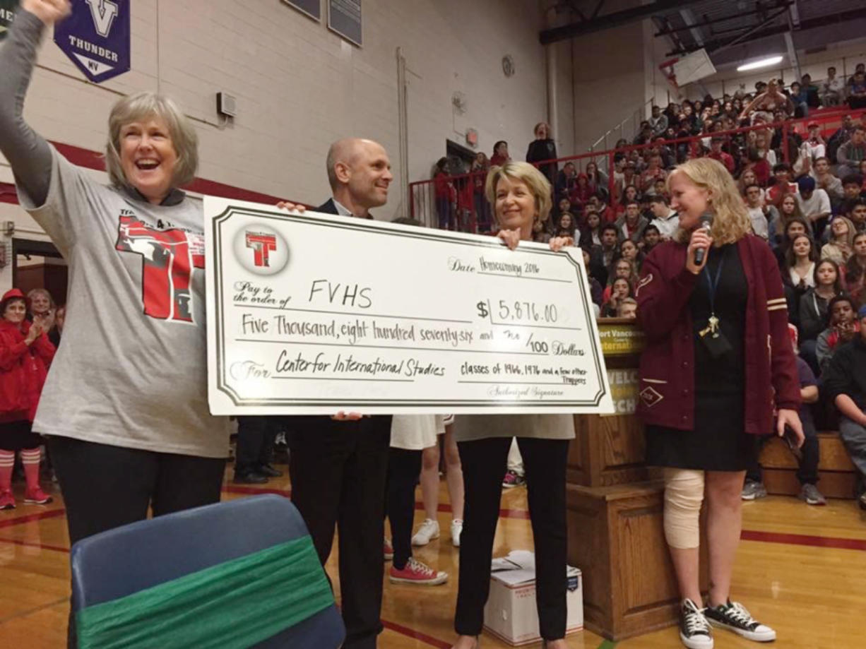Meadow Homes: At Fort Vancouver High School's Distinguished Alumni assembly, the classes of 1966 and 1976 donated money to the school. From left: Linda Langsdorf Johnson, class of 1966; Ken Mogseth, class of 1976; and Peggy Nitschke, class of 1966.