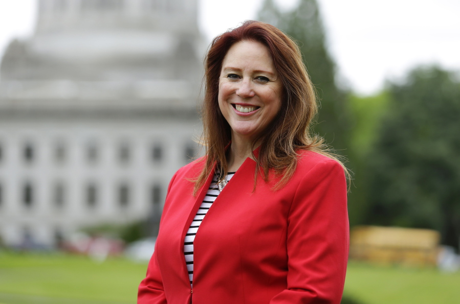 Washington Secretary of State Kim Wyman poses for a photo at the Capitol in Olympia. (AP Photo/Ted S.