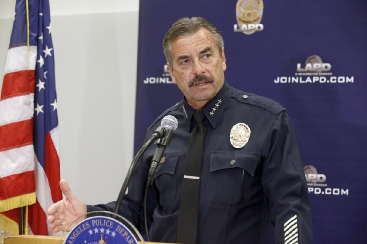 Los Angeles Police Chief Charlie Beck talks during a news conference in Los Angeles on Monday.  Beck on Monday said that Carnell Snell Jr., , a black man who was fatally shot by Los Angeles police during a weekend foot pursuit, was holding a loaded semiautomatic gun in one hand and turned toward officers.