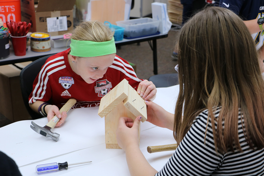 Laurin Middle School students build birdhouses for art