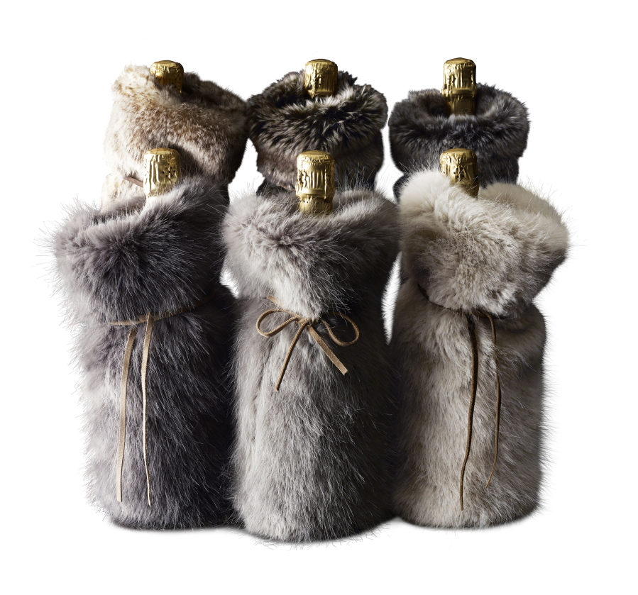 1d9c6f014f83 Restoration Hardware  039 s Luxe faux fur drawstring bags make glamorous  gift holders