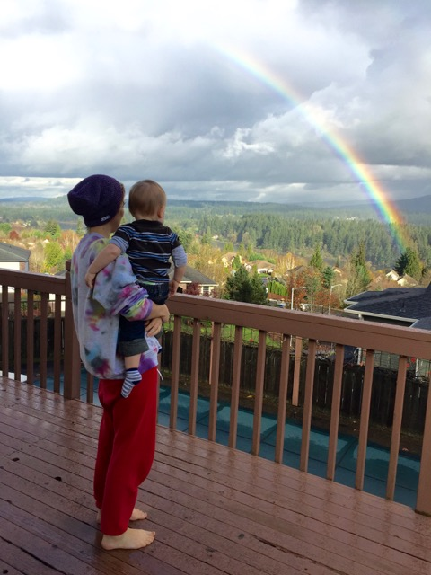 This photo was taken in Camas last Tuesday, the 15th. I went on our back deck to get a better view. Typically, we see plenty of rainbows in the spring so seeing one at this time of year was an unexpected treat.  What made this photo even more special to me was having my daughter and grandson in it as well.
