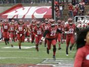 Washington State players run onto the field before an NCAA college football game against Washington, Friday, Nov. 25, 2016, in Pullman, Wash. (AP Photo/Ted S.