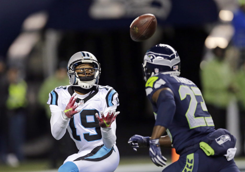 4c7dea9ac76 Carolina Panthers  Ted Ginn (19) reaches for a touchdown reception as Seattle  Seahawks