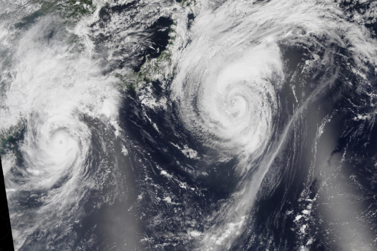 This image mosaic taken in August 2015, based on data collected during two orbital passes of the Visible Infrared Imaging Radiometer Suite (VIIRS) shows typhoons in the western North Pacific.