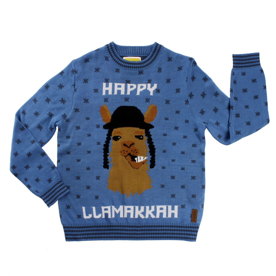 8050f8713 A holiday-themed sweater featuring a llama. With Christmas and Hanukkah  bumping together this