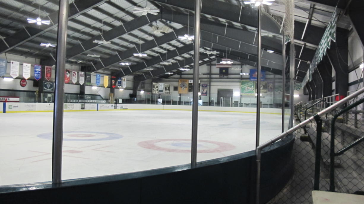 """The ice surface earlier this month at the Union Arena in Woodstock, Vt. Organizers want to make the arena the nation's first skating rink to go """"net zero"""" on energy, meaning no costs spent on electricity or heating fuel."""